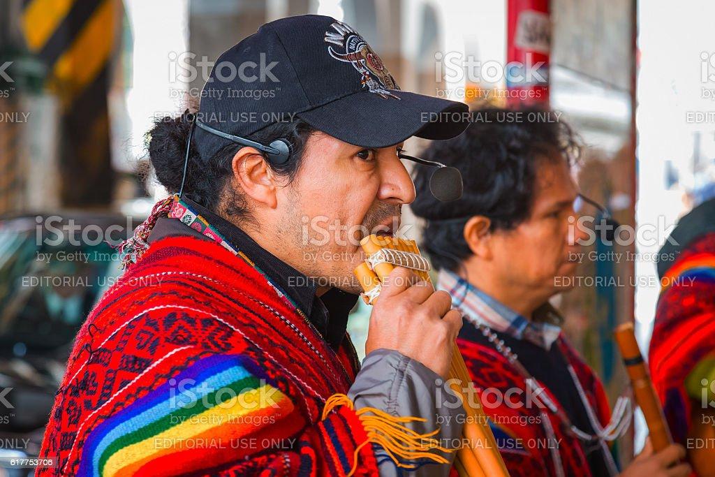 Peruvian Street Musicians stock photo