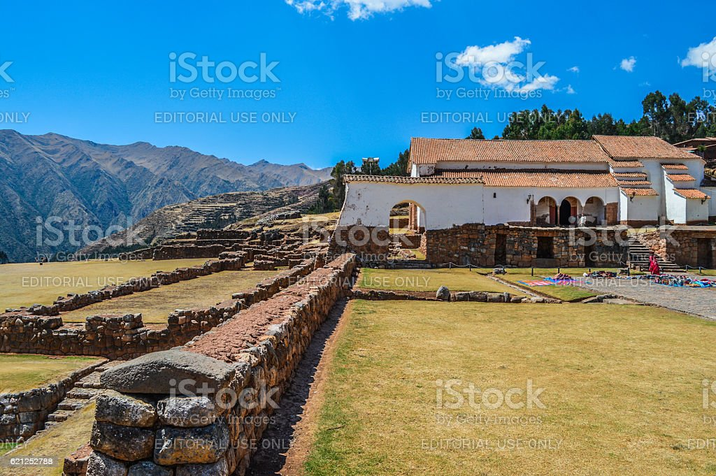 Peruvian village in the Sacred Valley of the Incas stock photo