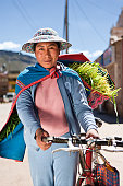 Peruvian woman in national clothing, Chivay, Peru