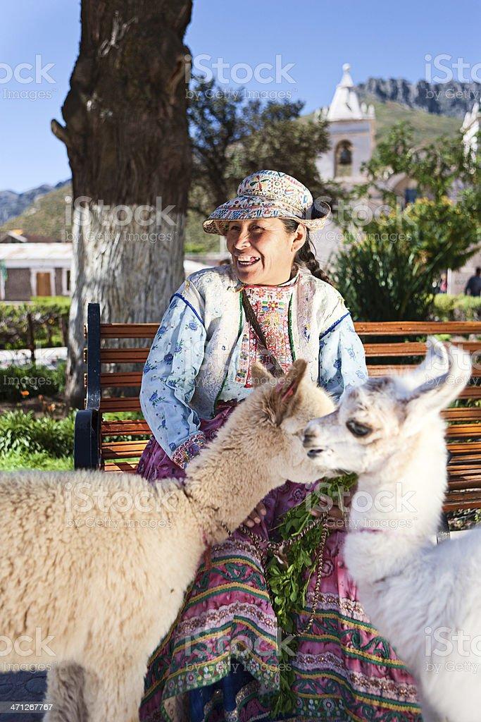 Peruvian woman in national clothing, Chivay, Peru royalty-free stock photo
