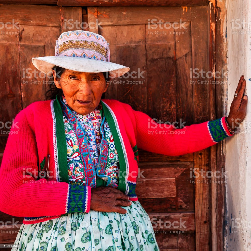 Peruvian woman in national clothing, Chivay, Peru stock photo