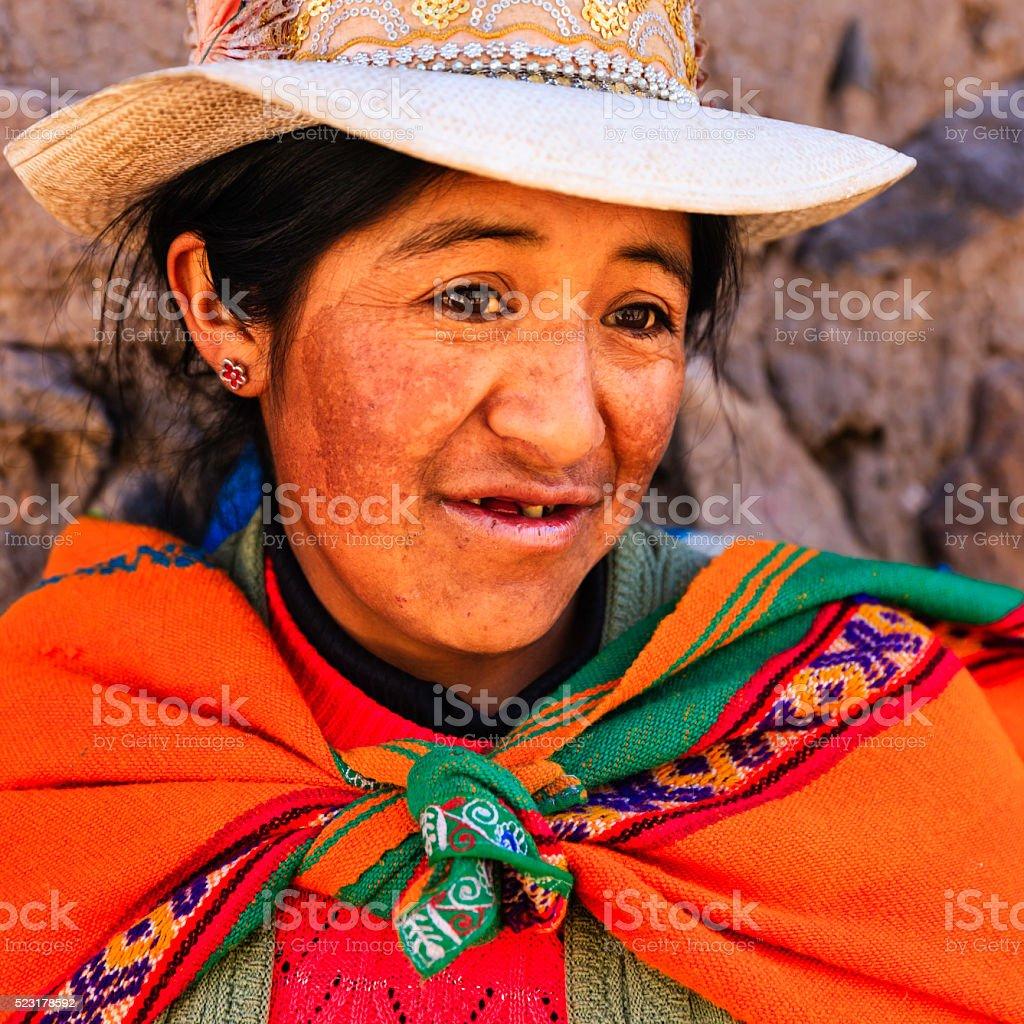 Peruvian woman in national clothing, Chivay, Peru stock photo