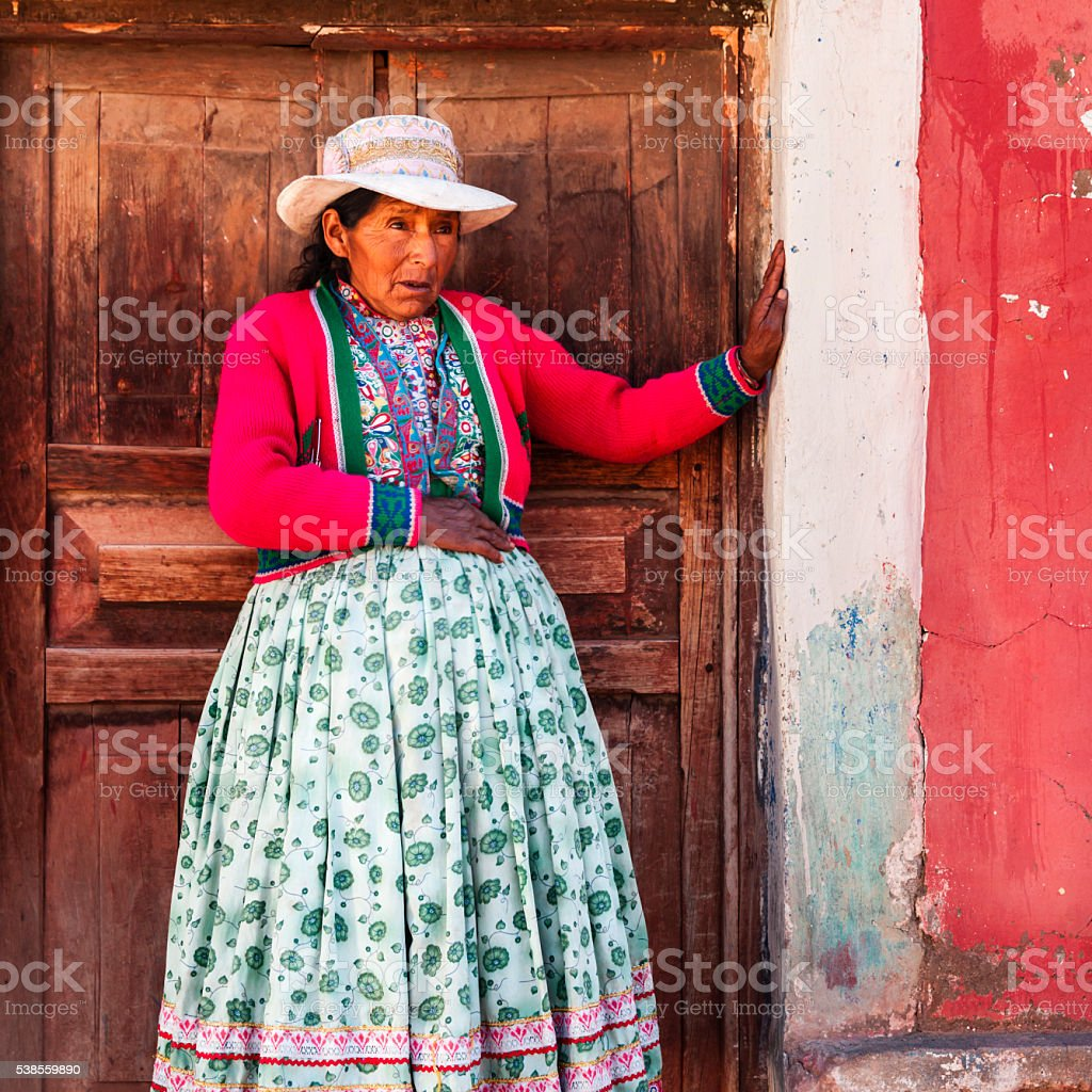 Peruvian woman near Colca valley, Chivay, Peru stock photo