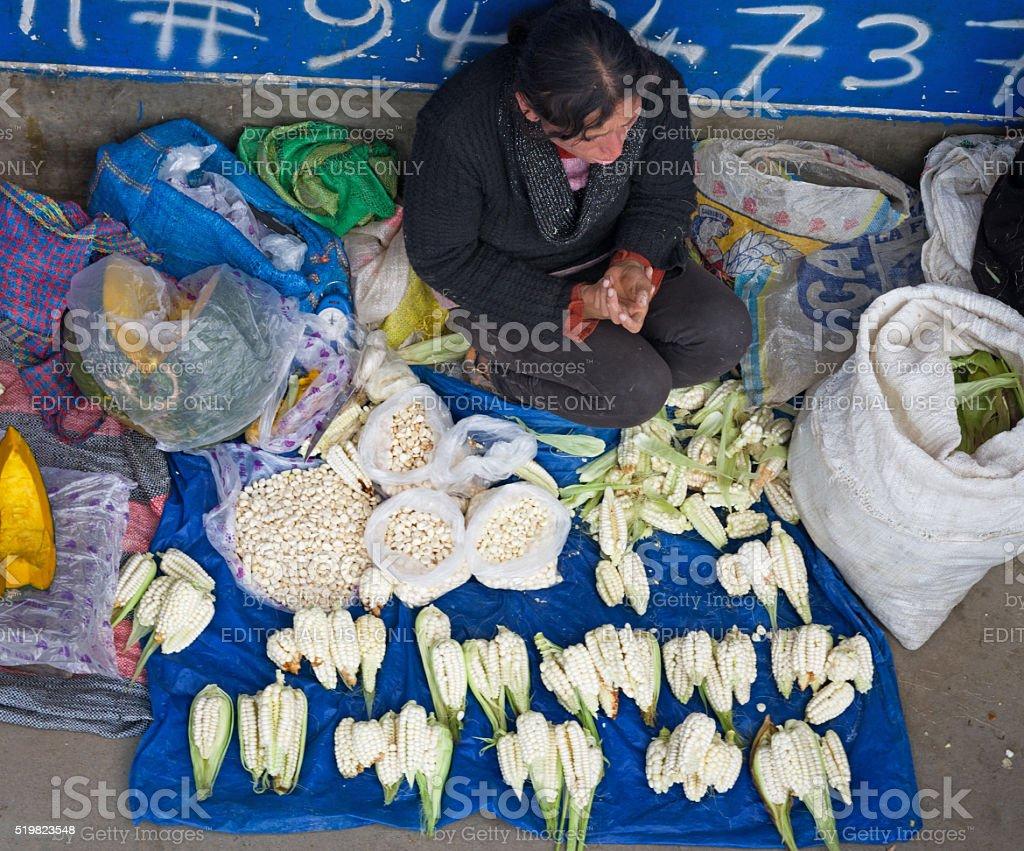 Peruvian woman on the street. Huaraz, Peru stock photo