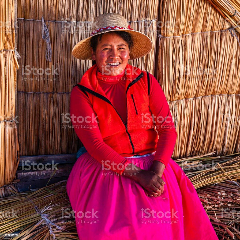 Peruvian woman on Uros floating island, Lake Tititcaca stock photo