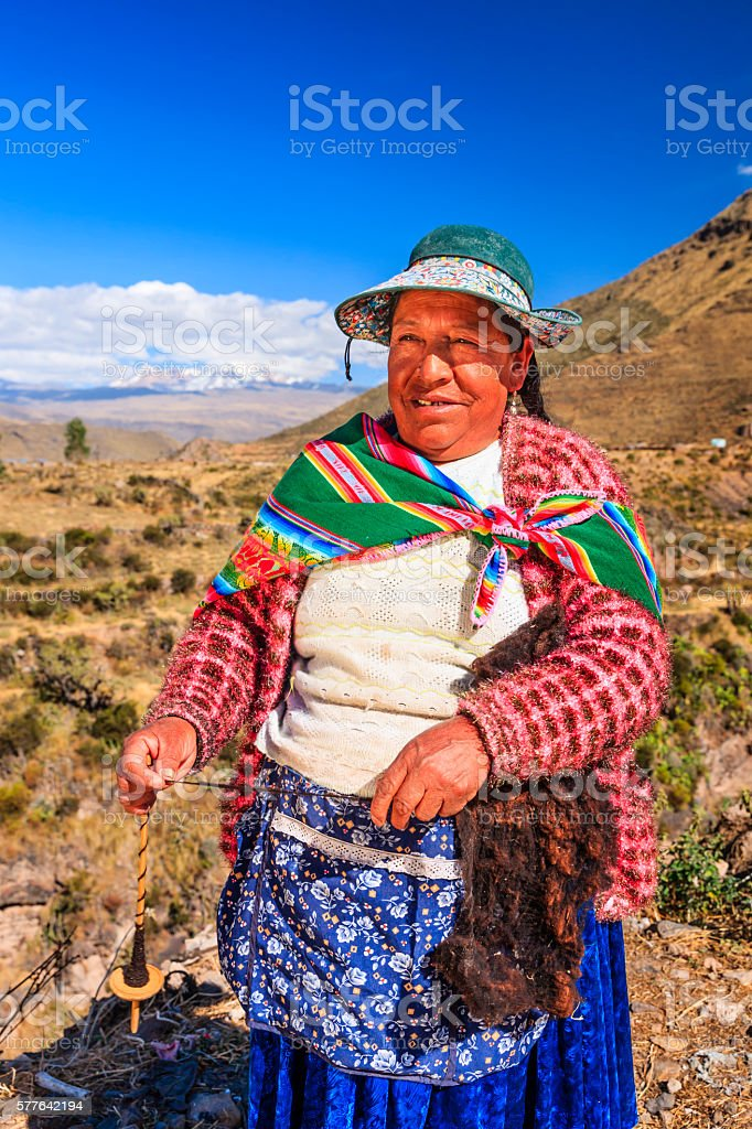 Peruvian woman spinning wool by hand near Colca Canyon, Peru stock photo