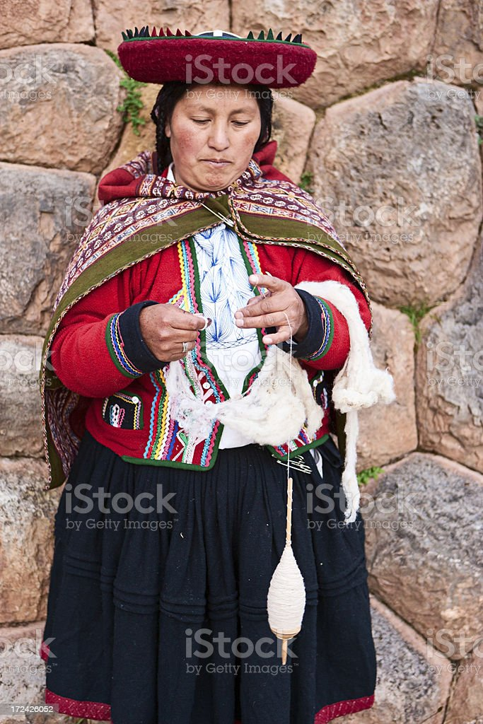 Peruvian woman spinning wool, The Sacred Valley, Chinchero royalty-free stock photo