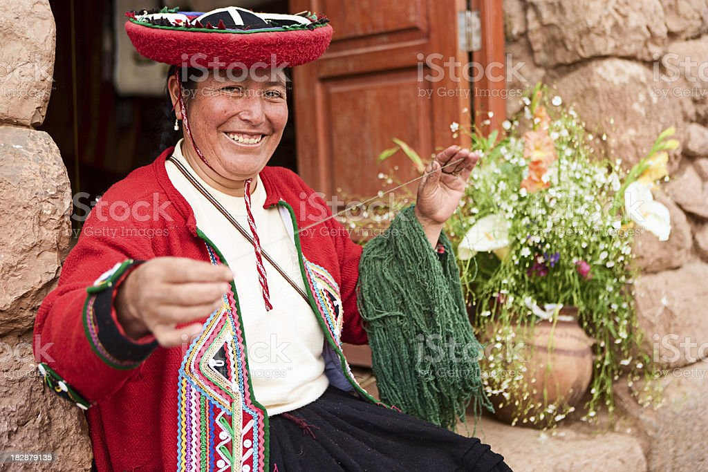 Peruvian woman spinning wool, The Sacred Valley, Chinchero stock photo