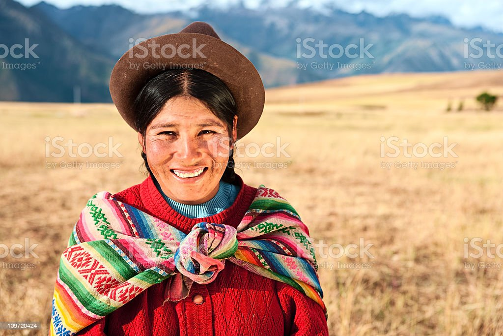 Peruvian woman wearing national clothing, The Sacred Valley, Cuz stock photo