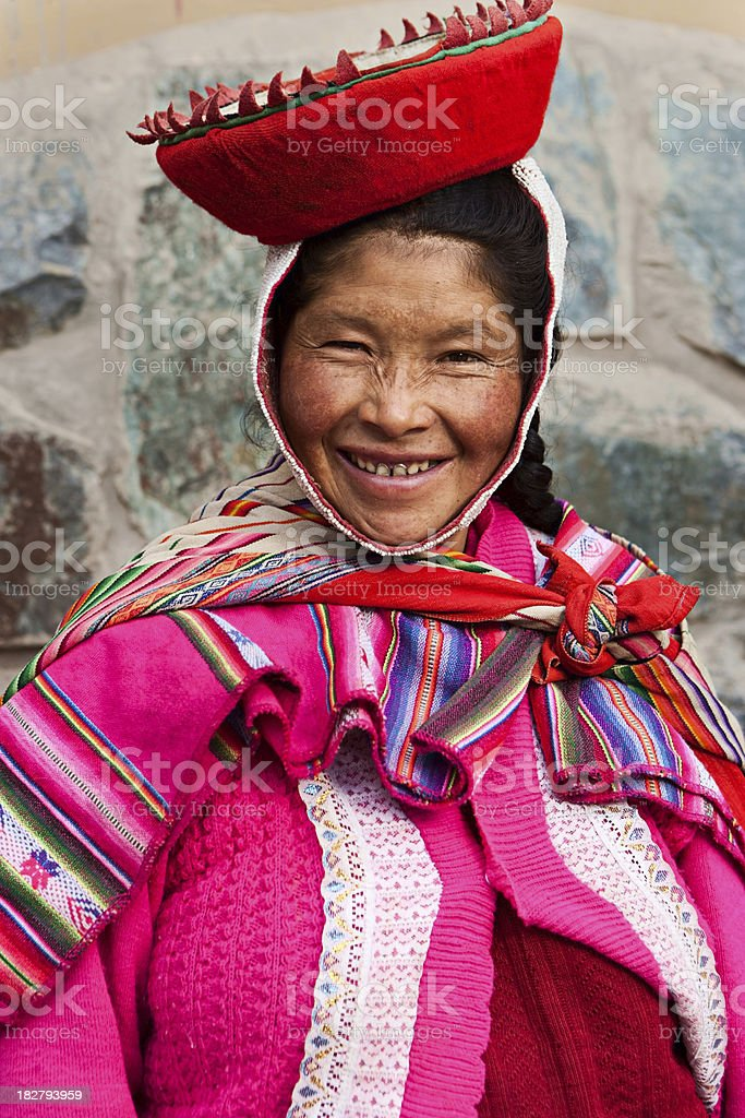 Peruvian woman wearing national clothing, The Sacred Valley royalty-free stock photo