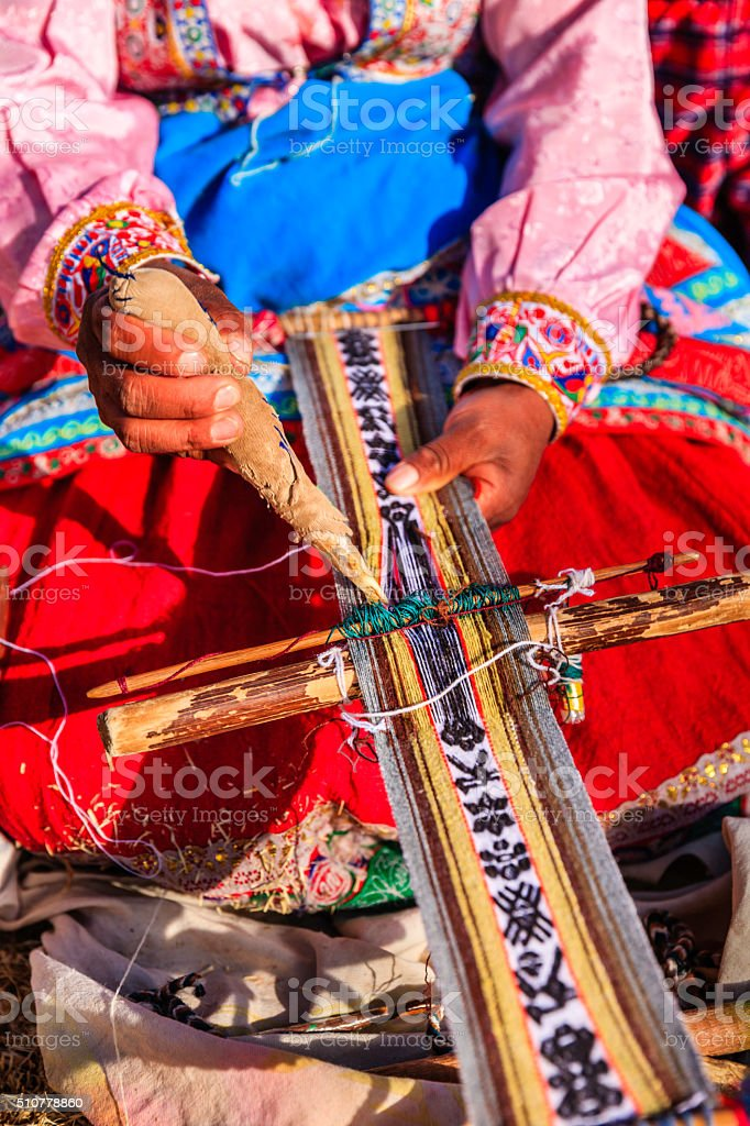 Peruvian woman weaving near Colca Canyon, Peru stock photo
