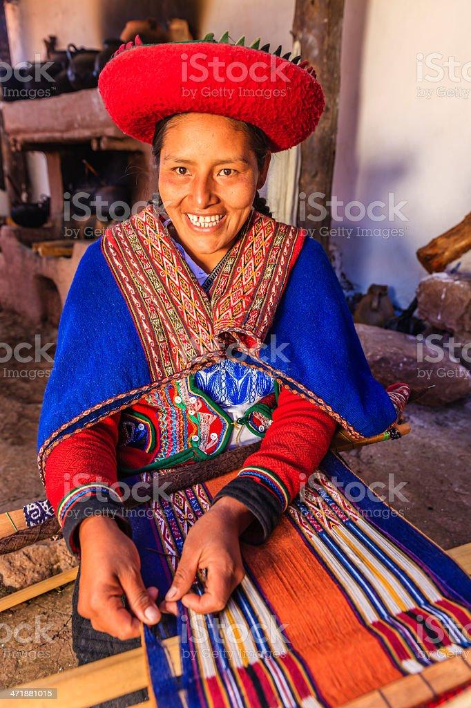Peruvian woman weaving, The Sacred Valley, Chinchero royalty-free stock photo