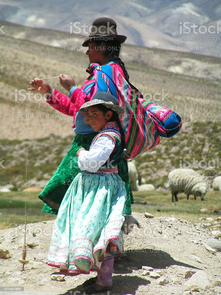 Peruvian woman with her daughter royalty-free stock photo