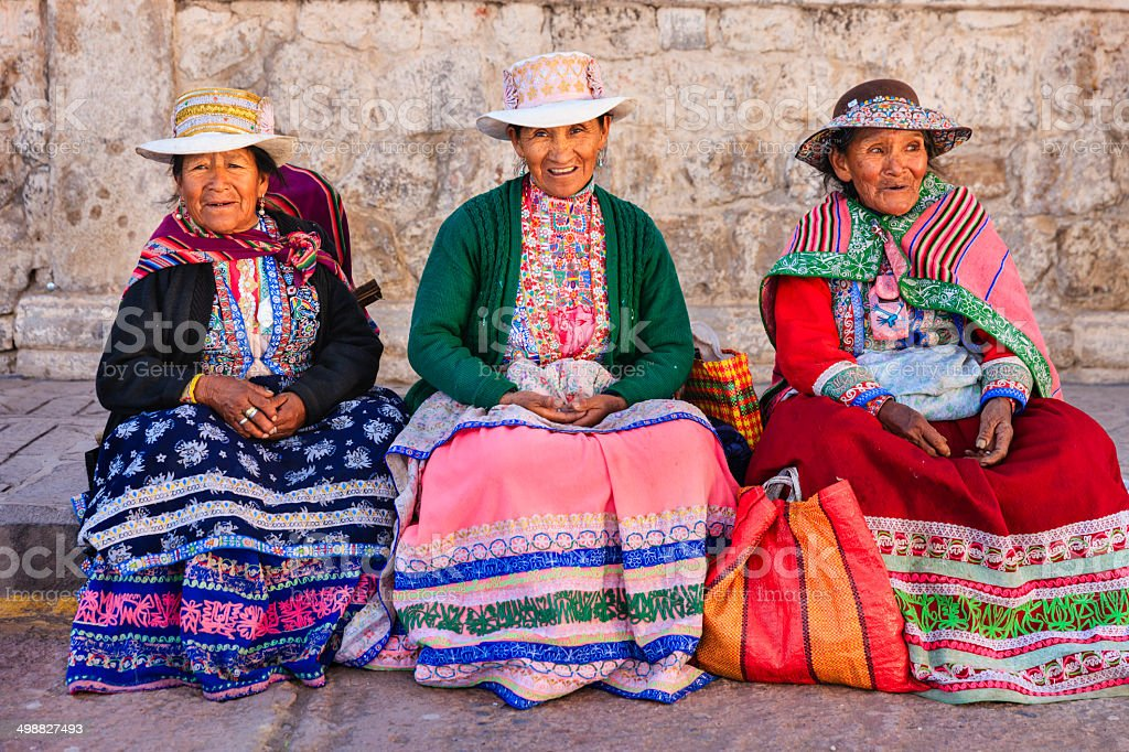 Peruvian women in national clothing, Chivay, Peru stock photo