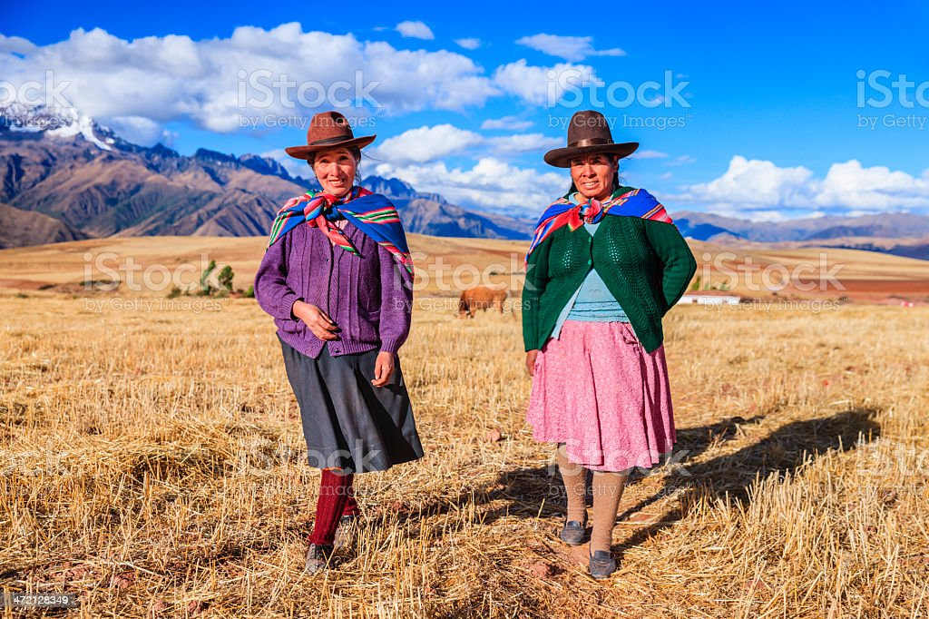 Peruvian women in national clothing crossing field, The Sacred Valley stock photo
