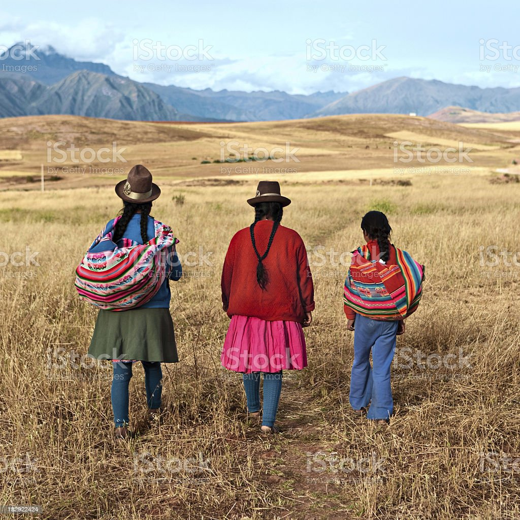 Peruvian women in national clothing, The Sacred Valley, Peru royalty-free stock photo