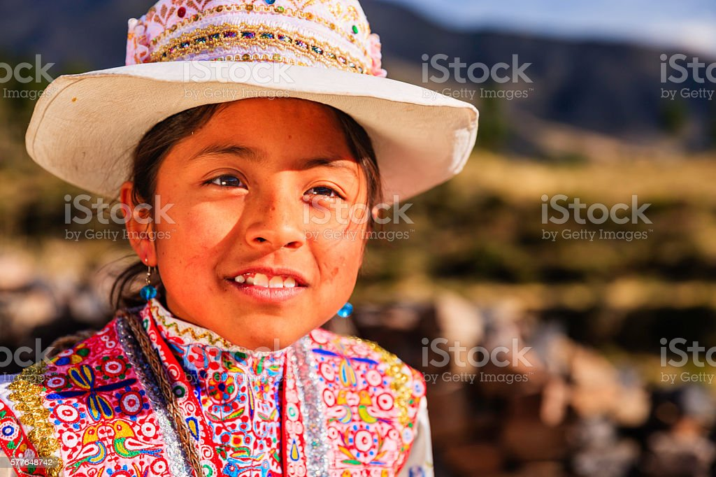 Peruvian young girl in national clothing, Chivay, Peru stock photo