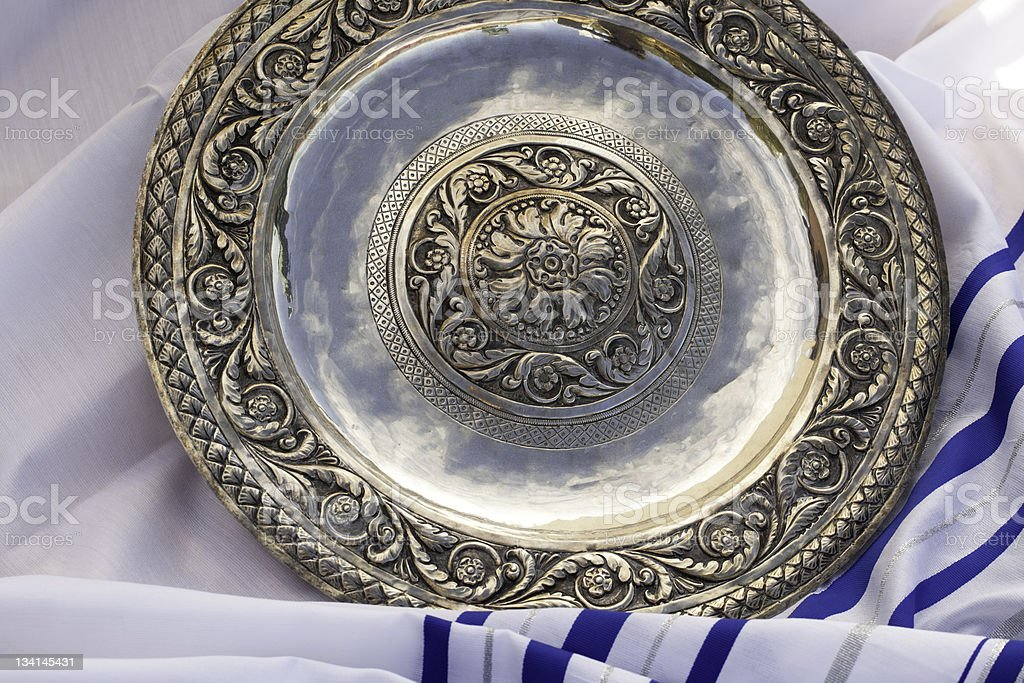 Pesach Dinner Silver Dish stock photo