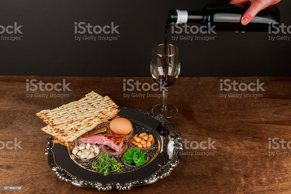 Pesach Still-life with wine and matzoh jewish passover bread stock photo