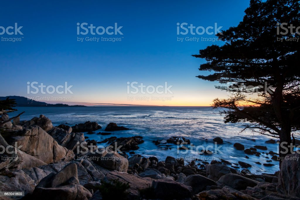 Pescadero Point sunset view at along famous 17 Mile Drive - Monterey, California, USA stock photo