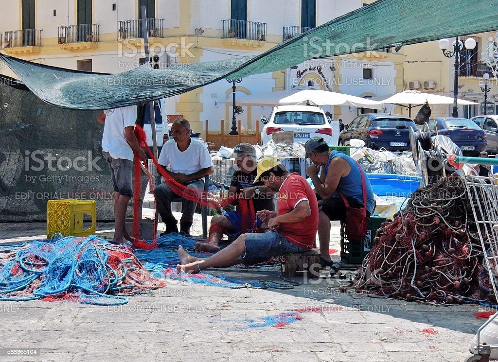 Pescatori a terra stock photo