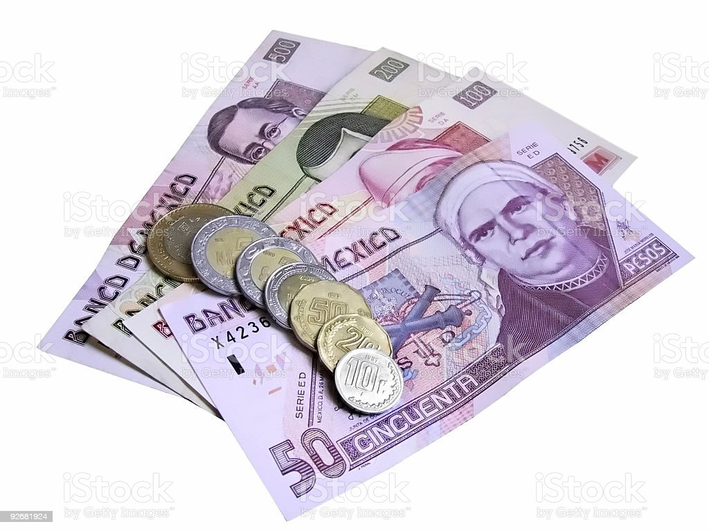 Peso Bills and Coins Isolated stock photo