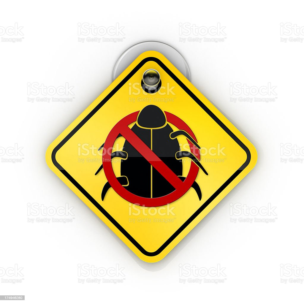 pest control or AntiVirus Sticky warning royalty-free stock photo