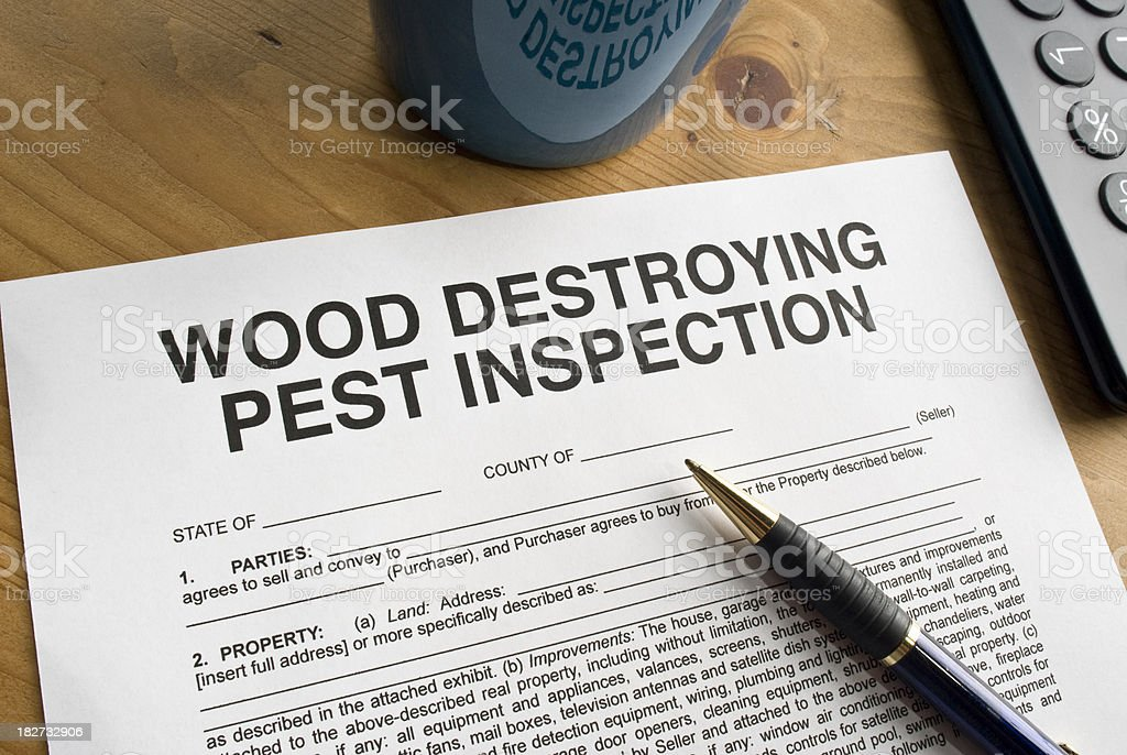 Pest Inspection Paperwork stock photo