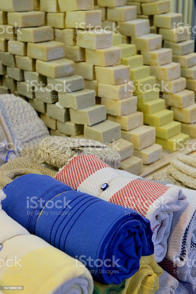 Pestemal and soap stock photo