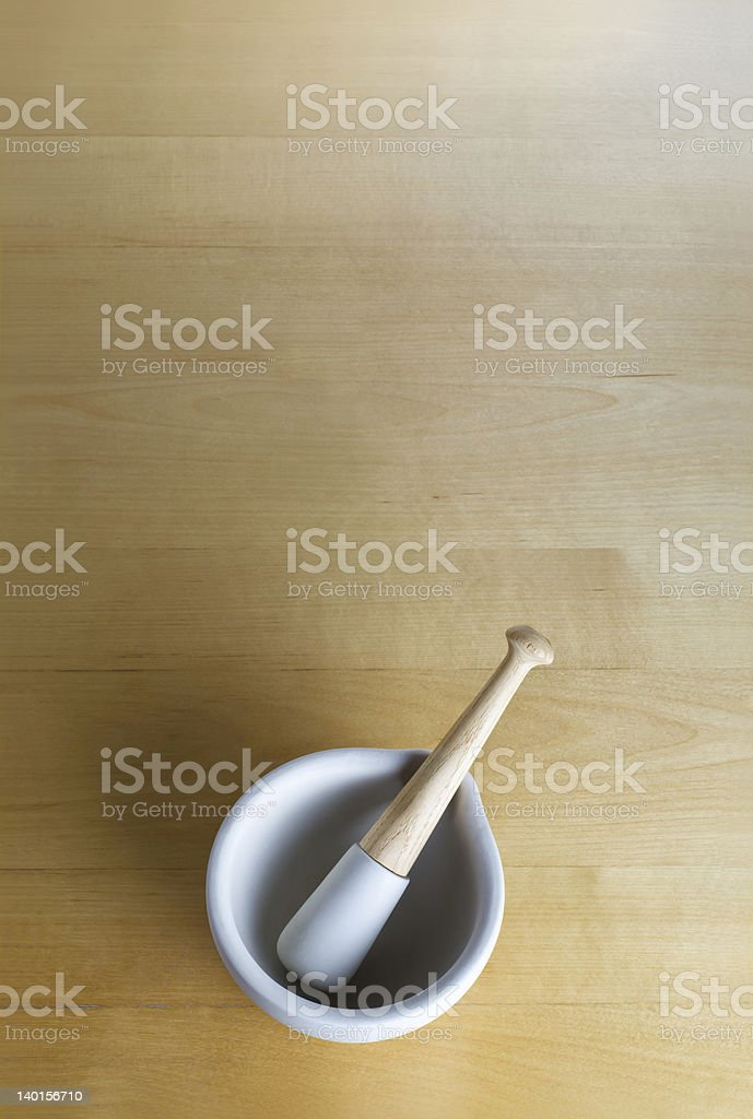 Pestle and Mortar on Wood royalty-free stock photo