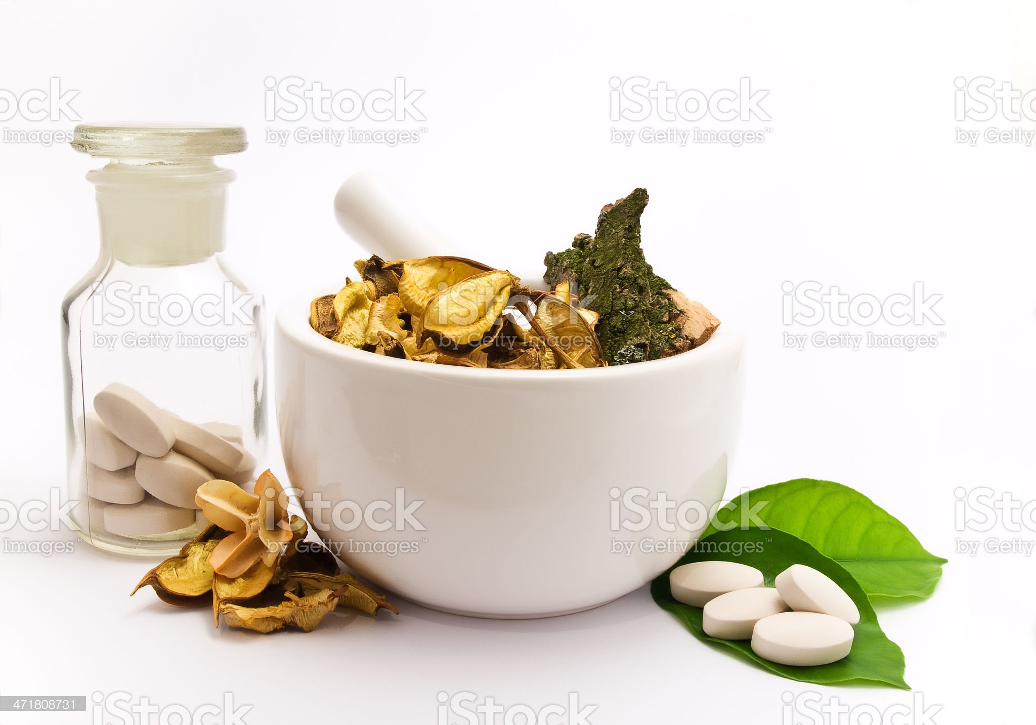 Pestle, herbs and pharmacy bottle. royalty-free stock photo