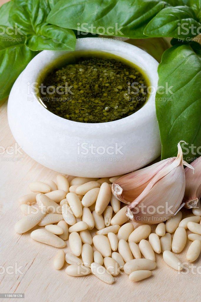 Pesto and basil. royalty-free stock photo