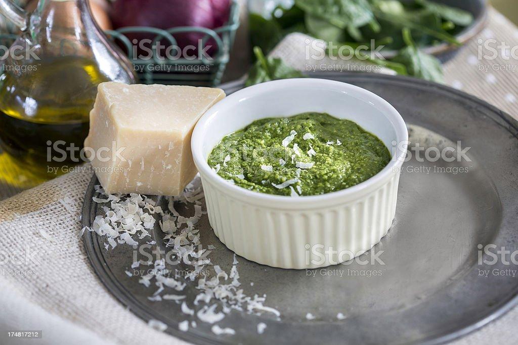 Pesto and Parmesan royalty-free stock photo