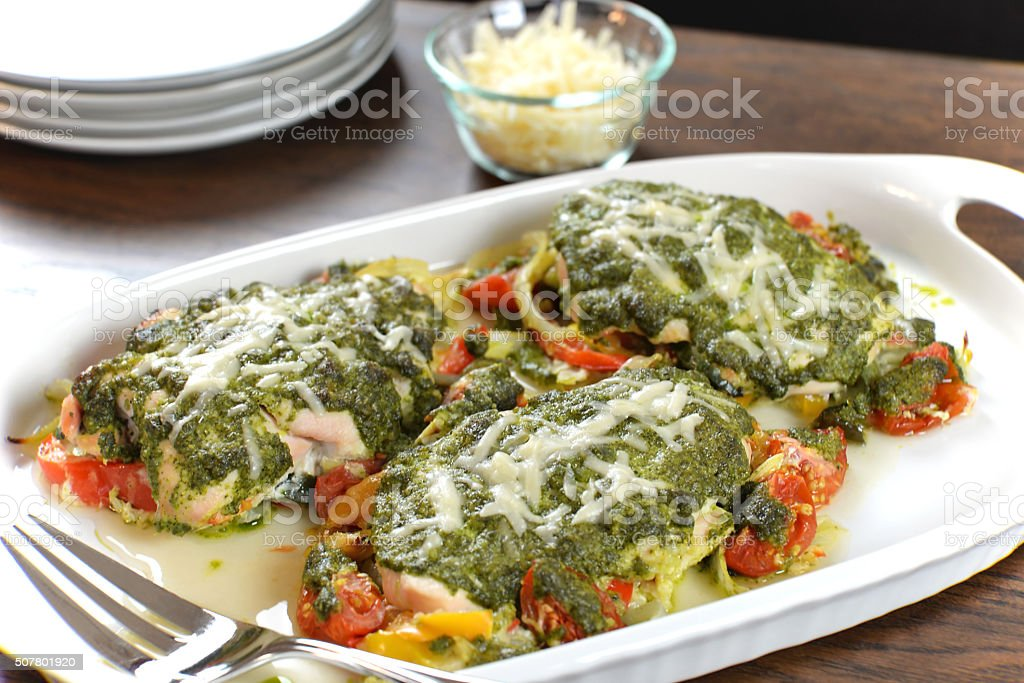 Pesto Chicken stock photo