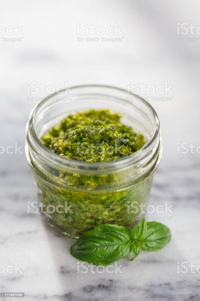Pesto in Jar stock photo