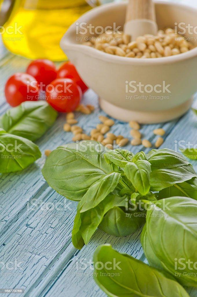 Pesto ingredients royalty-free stock photo