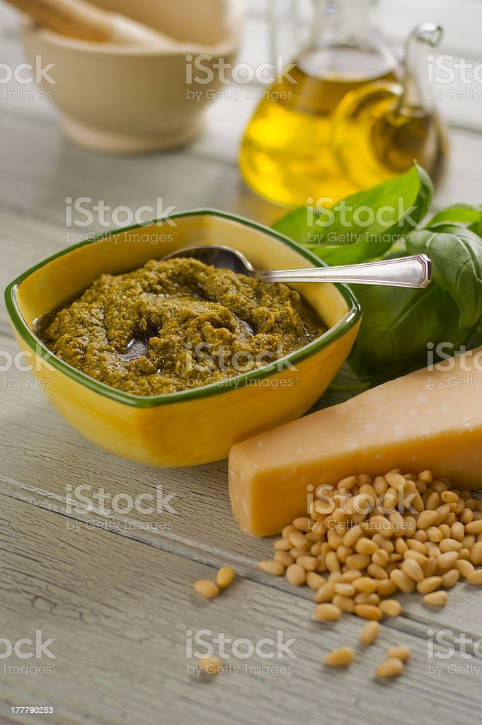 Pesto ingredients royalty-free stock photo
