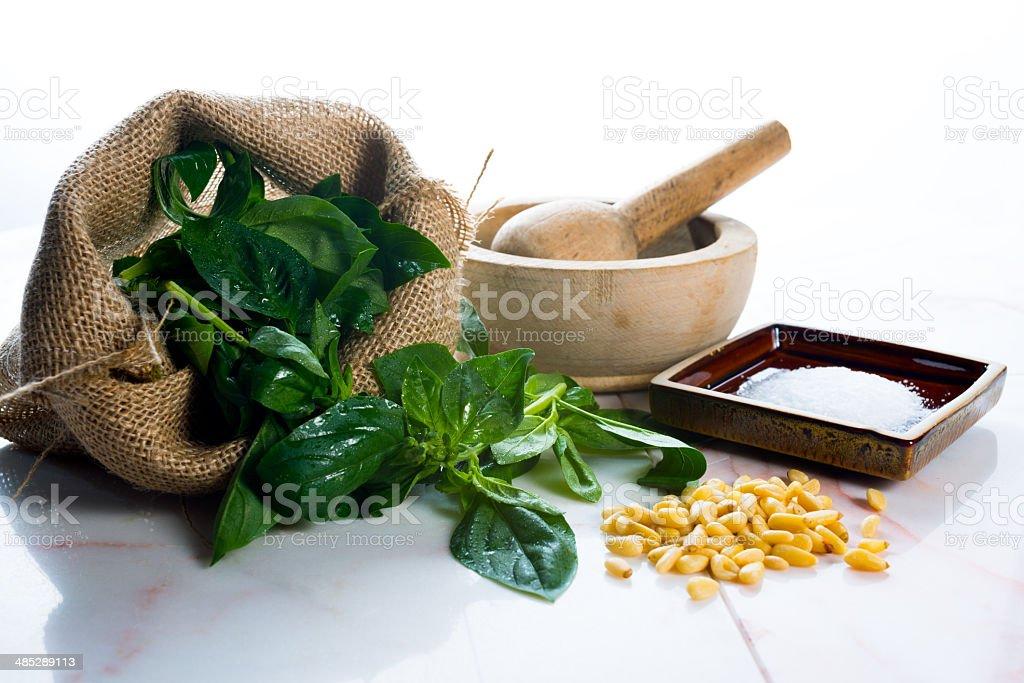 Pesto ingredients stock photo
