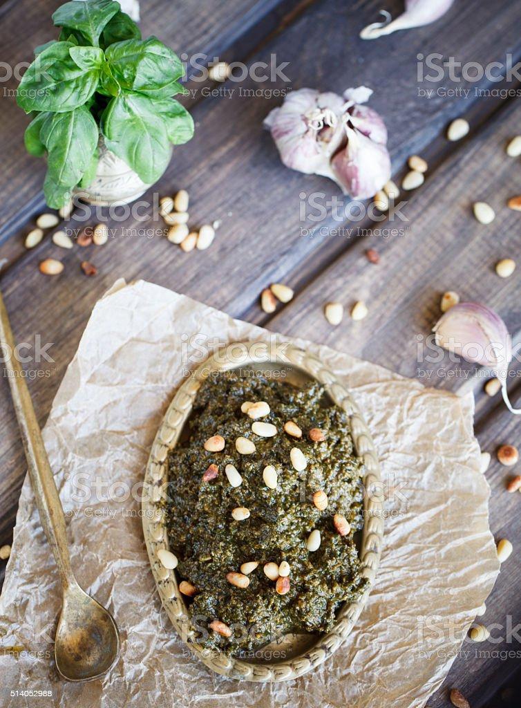 Pesto sauce and ingredients stock photo