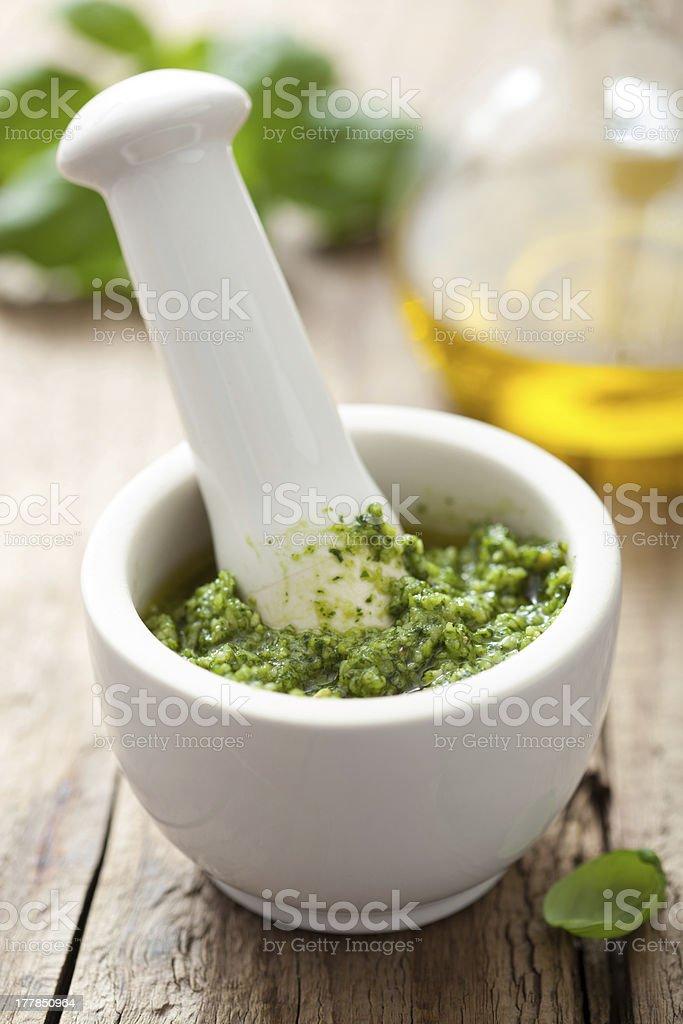 pesto sauce in mortar royalty-free stock photo
