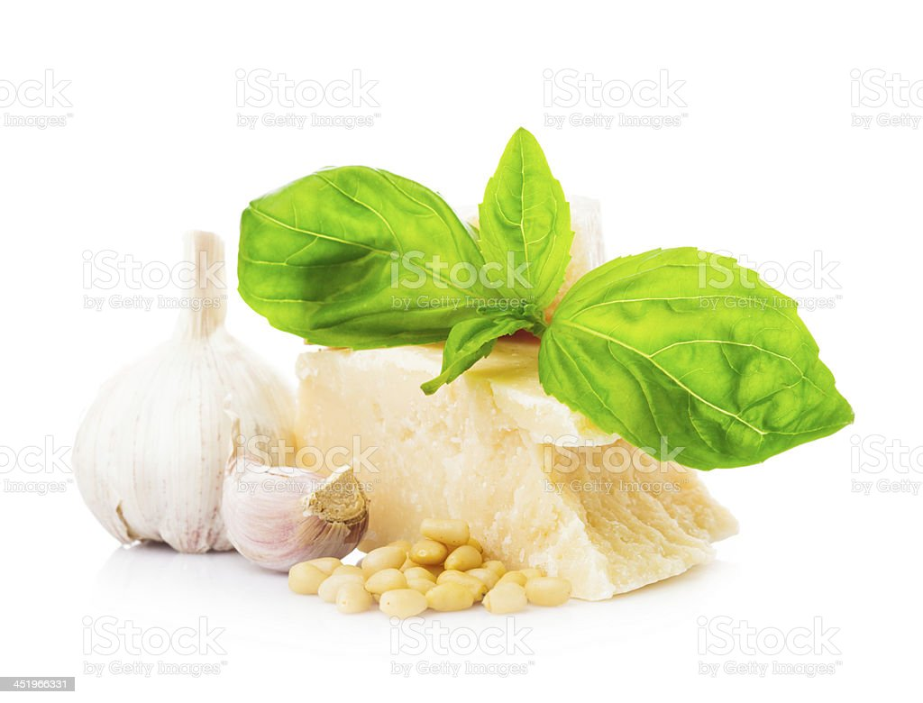 Pesto sauce ingredients stock photo