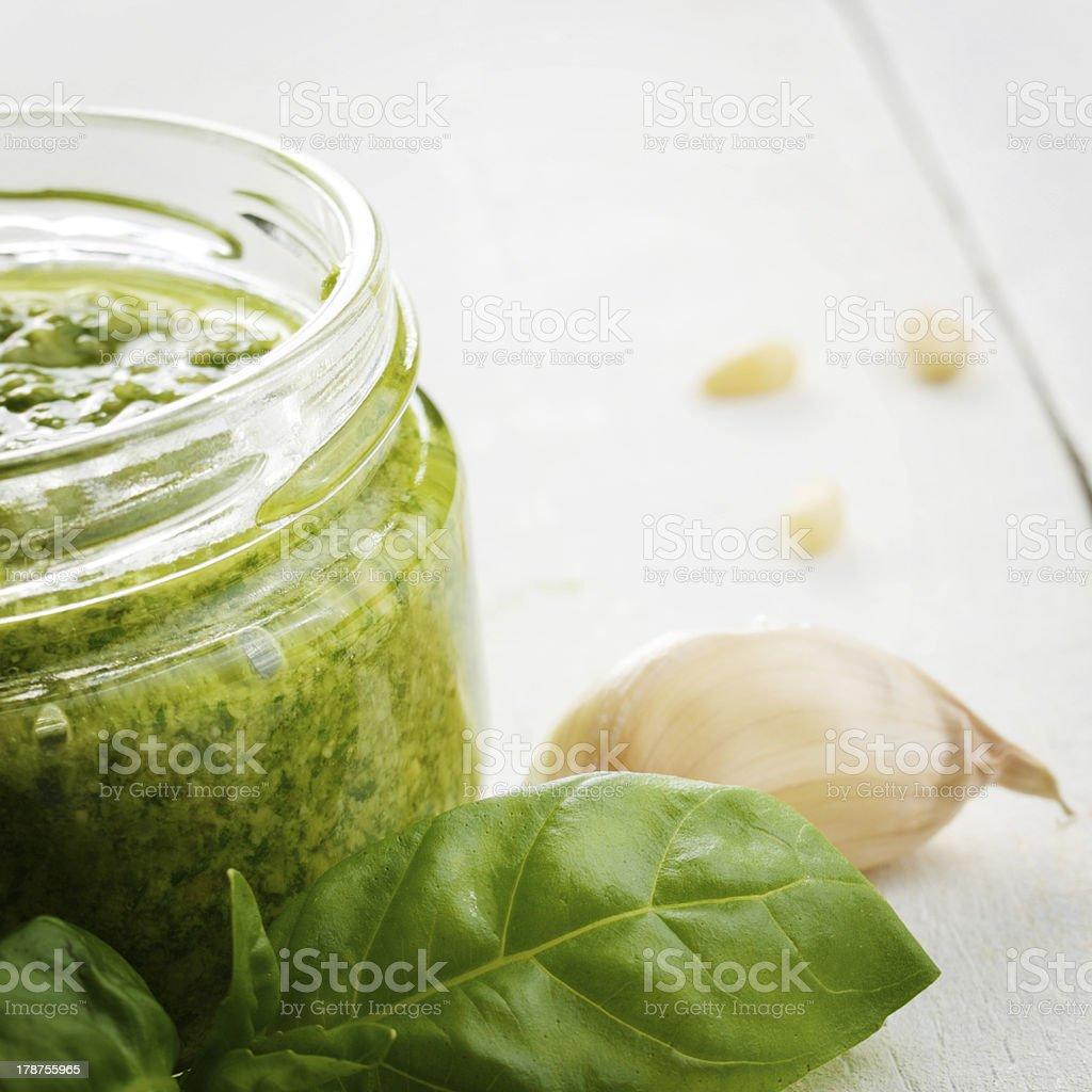 Pesto sauce jar royalty-free stock photo