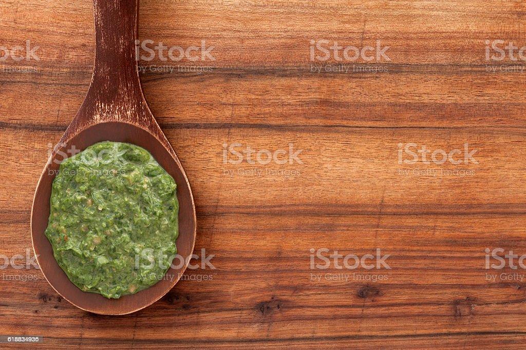 Pesto sauce stock photo