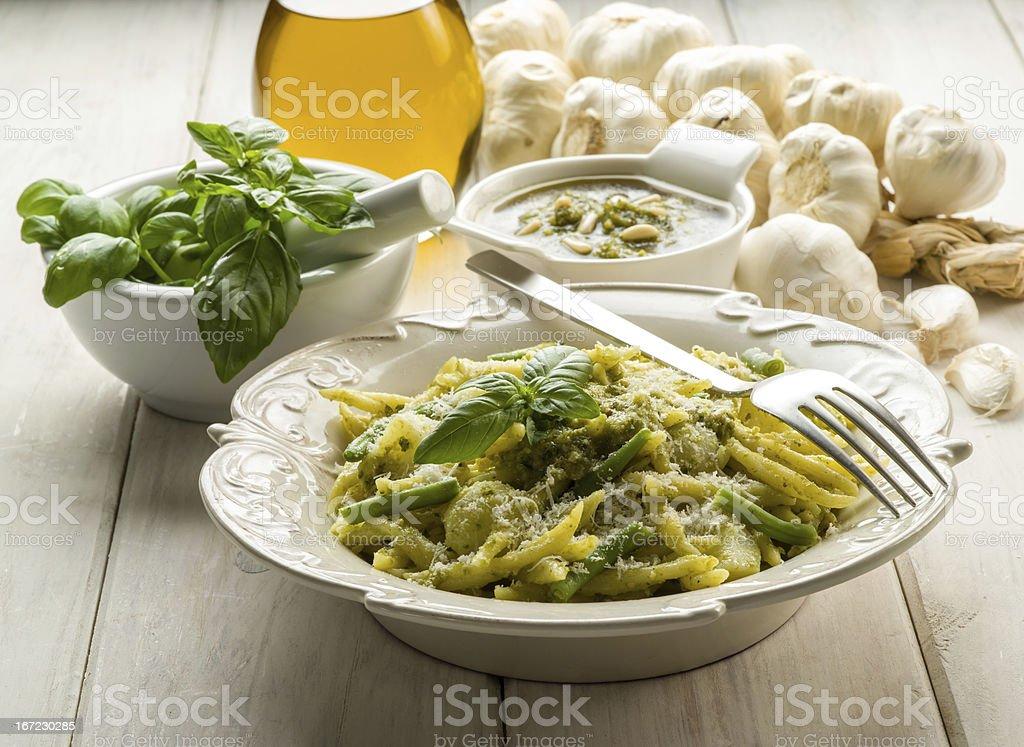 pesto trofie typical genoa recipe royalty-free stock photo