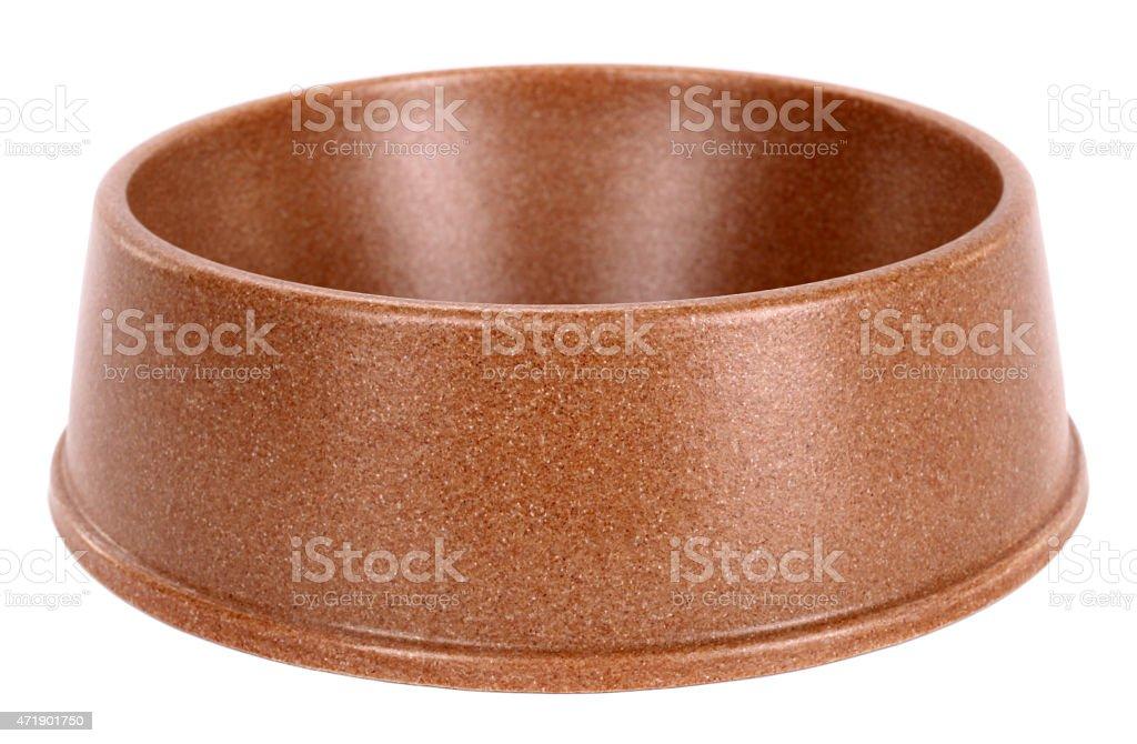 Pet dog bowl brown stock photo