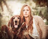 Pet Dog Portrait - Red Irish Setter And Beautiful Woman