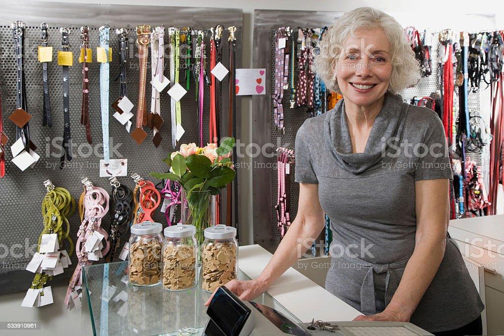 Pet shop owner stock photo