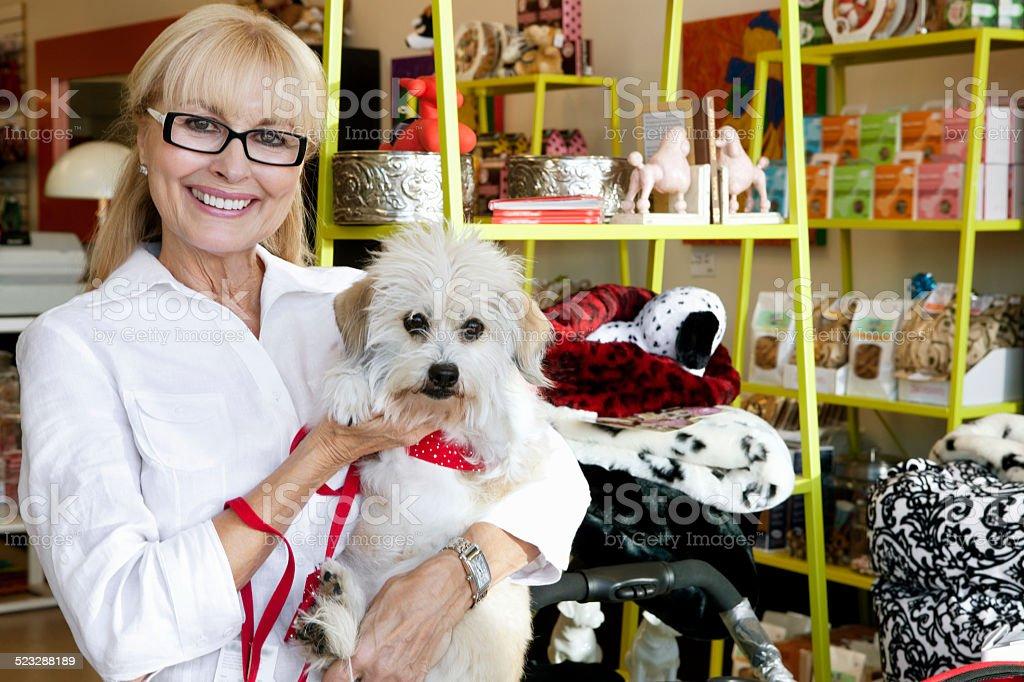 Pet Store worker stock photo