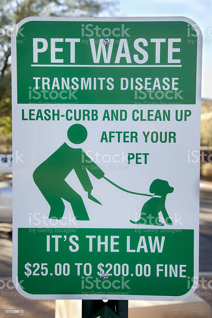 Pet Waste Sign stock photo
