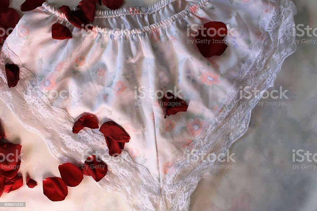Petals of roses on panties stock photo